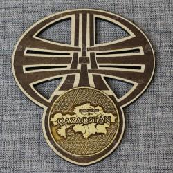 """Магнит с берестой и гравировкой нац.фигура овал """"Карта"""" Казахстан"""