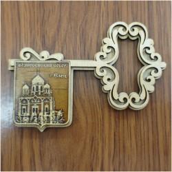 """Магнит из бересты ключ горизонтальный  """"Вознесенский собор"""" (вправо)"""