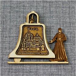 """Магнит из бересты монах с колоколом """"Великокняжеский храм"""""""