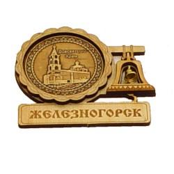 """Магнит из бересты с колоколом """"Всесвятский Храм"""" Железногорск"""