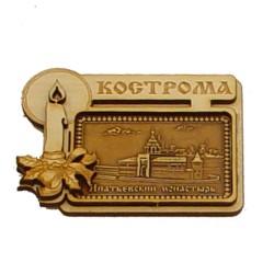 """Магнит из бересты прям свеча """"Ипатьевский монастырь"""" Кострома"""