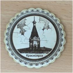 """Магнит из бересты круг """"Часовня"""" Красноярск"""
