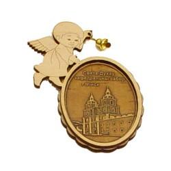 """Магнит из бересты ангел с колоколом """"Кафедральный собор"""""""