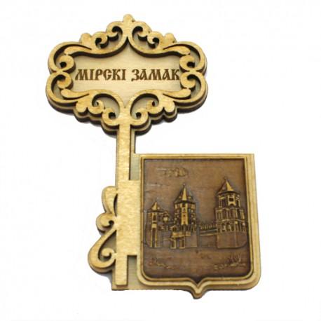 """Магнит из бересты ключ """"Мирский замок"""" . Минск"""