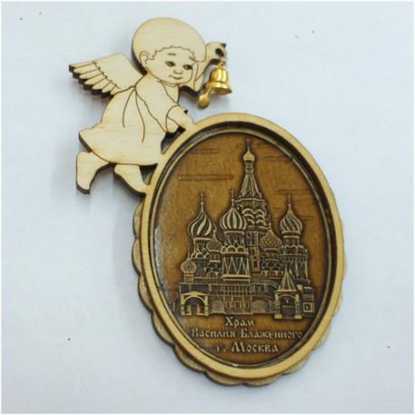 """Магнит из бересты ангел с колокольчиком """"ХВБ"""". Москва"""