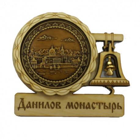 """Магнит из бересты с колоколом """"Данилов монастырь"""". Москва"""
