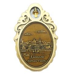 """Магнит из бересты овал с колокольчиком """"Данилов монастырь"""". Москва"""