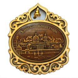 """Магнит из бересты овал горизонтальный с колокольчиком """"Данилов монастырь"""""""