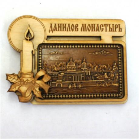 """Магнит из бересты прямоугольный свеча """"Данилов монастырь"""""""