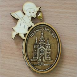 """Магнит из бересты ангел с колоколом """"Собор А.Невского"""""""