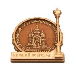 """Магнит из бересты фонарь """"Собор А.Невского"""""""