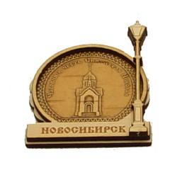 """Магнит из бересты фонарь """"Часовня"""" . Новосибирск"""