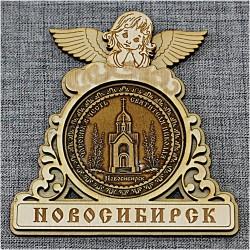 """Магнит из бересты круглый ангел """"Часовня"""""""