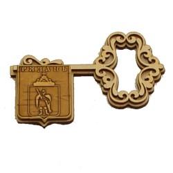 """Магнит из бересты ключ горизонтальный """"Герб"""" (вправо)"""